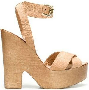 Zara Wooden Sling-Back Strappy Sandals - Size 10